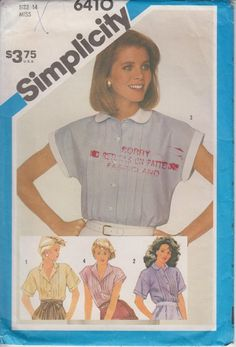 818569851770e Women s Sewing Pattern Shirt Front Tucks Peter Pan Notched Revere Collar  Blouse Top 80s Size 14 Bust