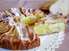 Ricotta cheese and pears cake – backen Italian Desserts, Italian Recipes, Ricotta Cake, Pear Cake, Italian Cooking, Cake Cookies, Yummy Cakes, Food To Make, Cake Recipes