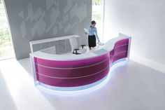 MDD Valde Extras 5 White / gray modular office reception furniture extras A king of office furniture - a Curved Reception Desk, Reception Desk Design, Reception Counter, Office Reception, Curved Desk, Reception Furniture, Office Furniture, Minimalistic Style, Modular Office