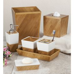 Spa Bamboo Bath Accessory Collection - Overstock™ Shopping - The Best Prices on Bathroom Accessory Sets