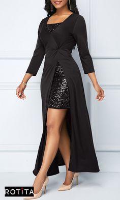 7b263e2d39c8 Sequin Embellished Mini Dress and Side Slit Black Dress .Stylish dress from  Rotita