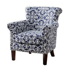 ModHaus Living Contemporary Navy Blue and White Floral Filigree Pattern Upholstered Tight Back Armchair with Nailhead Trim and Dark Wood Legs- Includes Pen Living Room Chairs, Living Room Furniture, Living Rooms, Dining Chairs, Furniture Decor, Wingback Chairs, Desk Chairs, Chesterfield Chair, House Furniture
