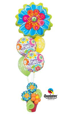 This #MothersDay balloon delivery combines vibrant colors and bejeweled #flowers to brighten any mom's day. Visit the Mother's Day Business Booster on qualatex.com for even more ideas! #balloons