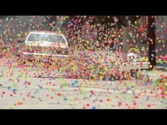 This is a Sony Bravia Commercial where they used 250,000 bouncy balls on a San Francisco street.