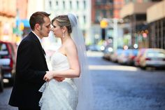 Romantic Bride and Groom's photo on the streets of New York in Tribeca| Press: The Photos from this wedding were published and showcased in Contemporary Bride Magazine Spring 2013 | Photos by Anna Rozenblat Photography | www.AnnasWeddings.com