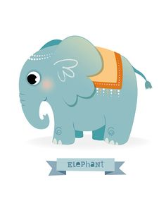 Elephant print Safari animal nursery Safari by IreneGoughPrints