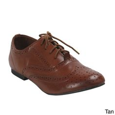 Breckelle Women's 'Oxford-88' Broque Oxford Flats | Overstock.com Shopping - The Best Deals on Oxfords