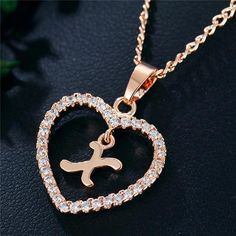 Romantic Love Pendant Necklace For Girls 2019 Women Rhinestone Initial Letter Necklace Alphabet Gold Collars Trendy New Charms Letter Pendant Necklace, Letter Pendants, Love Necklace, Necklace Types, Initial Necklace, Fashion Necklace, Fashion Jewelry, Girls Necklaces, Metal Necklaces