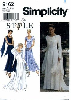 Simplicity 9162 Sewing Pattern Misses Draped Cowl Wedding Dress Gown Size 8