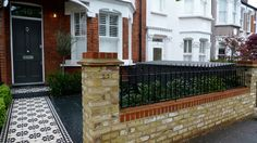 Bespoke Front Garden Bike Store Paving Slate Patio Front Metal Wrought Iron Rail And Victorian Mosaic Tile Path Yellow Brick Garden Wall Wimbledon London - London Garden Design Victorian Front Garden, Victorian Terrace, Victorian Homes, Brick Garden, Brick Fence, Brick Wall, Slate Garden, Garden Walls, Front Fence