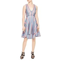 Sandro Chear Striped Mesh Dress ($238) ❤ liked on Polyvore featuring dresses, blue denim, stripe dress, striped dresses, mesh dress, sandro and blue striped dress