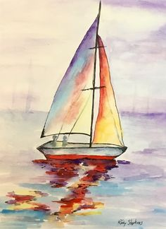 Discover recipes, home ideas, style inspiration and other ideas to try. Sailboat Art, Sailboat Painting, Sailboats, Sailboat Drawing, Watercolor Sea, Watercolor Landscape, Lighthouse Painting, Watercolor Paintings For Beginners, Art Drawings