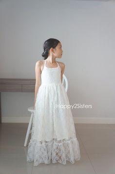 Lace maxi girl dress, Ivory lace flower girl dress