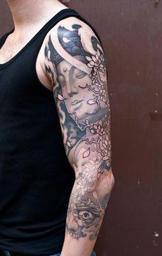 Black & Gray Tattoo | Craftz Berlin | 3/4 Sleeve | Buddha + Blossoms + Tibetan Skull + Cloud