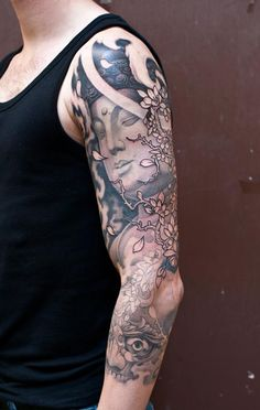 Black & Gray Tattoo | Craftz Berlin | 3/4 Sleeve | Buddha + Blossoms + Tibetan Skull + Cloud