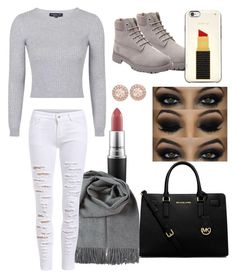 """""""Untitled #11"""" by sandmini ❤ liked on Polyvore featuring Topshop, Timberland, Kate Spade, MAC Cosmetics, Givenchy and MICHAEL Michael Kors"""