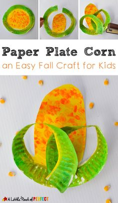 Paper Plate Corn Craft: Easy for Kids to Make (Fall Craft, Farm, Harvest, Preschool, Kindergarten) Harvest Crafts For Kids, Harvest Activities, Paper Plate Crafts For Kids, Easy Fall Crafts, Thanksgiving Crafts For Kids, Crafts For Kids To Make, Autumn Activities, Thanksgiving Table, Simple Crafts