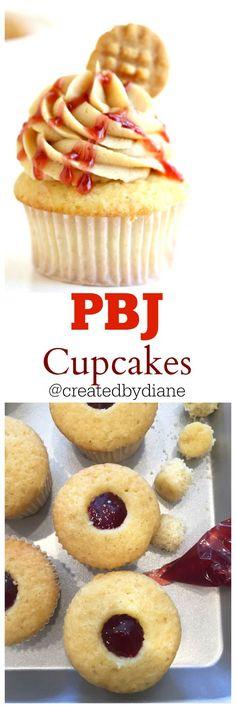pbj cupcakes, these peanut butter and jelly cupcakes are simple to make and enjoyed by all. They are flled with jam and are delicious in every single bite. They could replace a pbj sandwich for back to school if you want! strawberry jelly was used but if grape jelly is your favorite use it!  from /createdbydiane/ www.createdby-diane.com food blogger/ recipe developer