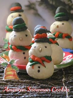 Eggless American Snowman Cookies for Christmas