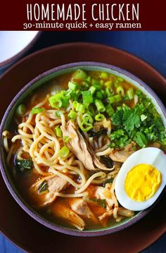 Homemade Chicken Ramen A filling nutritious soup full of protein vegetables and soothing broth Perfect boost for your immune system wellnessyourway kroger Sopa Ramen, Ramen Noodle Soup, Home Made Ramen Noodles, Noodle Noodle, Udon Noodles, Noodle Bowls, Soup Recipes, Chicken Recipes, Dinner Recipes