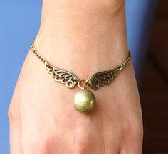 Steampunk Enchanted Golden Snitch wings bracelet