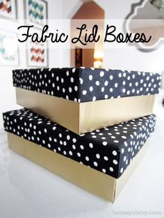DIY Fabric Lid Boxes as decorative storage or gift boxes for the holidays. | Homey Oh My!