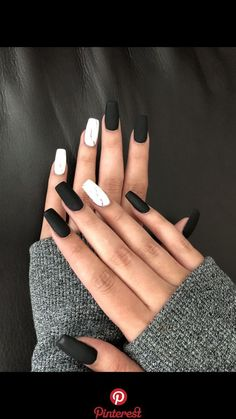 100 Black and White Acrylic Coffin Nails Ideas in 2019 Page 55 . , 100 black and white acrylic coffin nails ideas in 2019 page 55 # , Cute Black Nails, Black Nail Art, White Acrylic Nails, Best Acrylic Nails, Matte Nails, Pretty Nails, Gel Nails, Gradient Nails, Holographic Nails