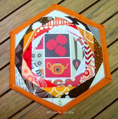 Hexagon Trivet from Patchwork Please using Melanie Paul fabric Retro Kitchenalia (from spoonflower.com (Designer: Madex) #spoonflowered