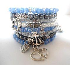 Aquamarine silver bracelet Multi charm bracelet by AmorPorteno