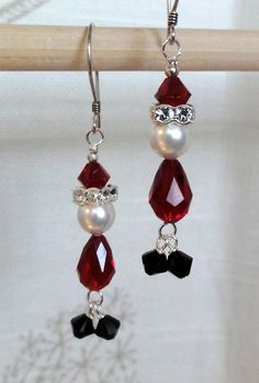 Swarovski Santa Earrings by baublesbybethann on Etsy