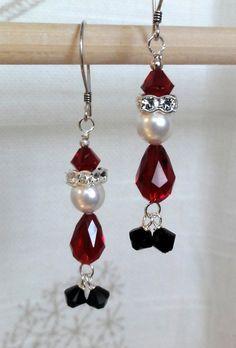Swarovski Santa Earrings by baublesbybethann on Etsy