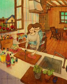 These Heartwarming Drawings By A Korean Artist Show What True Love Is Paar Illustration, Illustration Mignonne, Couple Illustration, Real Love, What Is Love, Puuung Love Is, Art Amour, Korean Artist, Couple Art