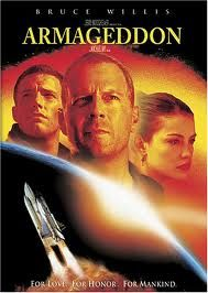 Armageddon is a 1998 American disaster film, directed by Michael Bay, produced by Jerry Bruckheimer and released by Disney's Touchstone Pictures. The film follows a group of blue-collar deep-core drillers sent by NASA to stop a gigantic asteroid on a collision course with Earth. It features an ensemble cast including Bruce Willis, Ben Affleck, Billy Bob Thornton, Liv Tyler, Owen Wilson, Will Patton, Peter Stormare, William Fichtner, Michael Clarke Duncan, Keith David and Steve Buscemi.