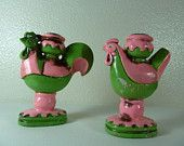 Pink and Green Hen and Rooster Candlesticks Inarco Japan