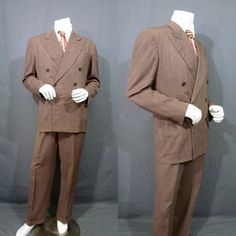 Mens Vintage 40s Zoot Suit Double Breasted Wool Waverly