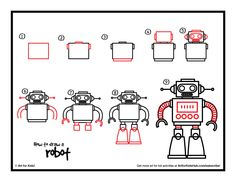 draw hub robot robots drawing step drawings learn easy paint tekenen steps kid directed squares rectangles basic stap fun short