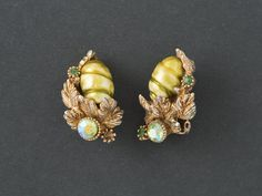 Vintage HAR  Earrings  Green  Pearl and AB from  ShinyShelly on Etsy