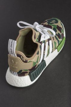 Chance Bape x adidas NMD Green Camo shoes Adidas Nmd R1, Adidas Nmd Olive, Adidas Shoes Nmd, Camo Shoes, Boys Shoes, Ankle Sneakers, White Sneakers, Sneaker Boots, Bape