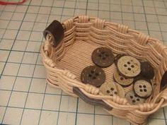 半端ひもで・ミニカゴの作り方(底フラット) - 手作り記録 Tray, Trays, Board