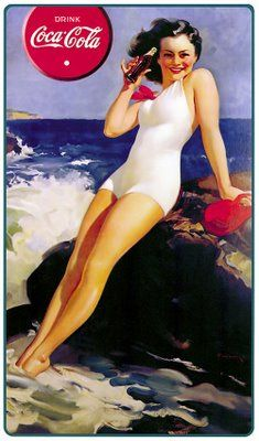 Coca Cola at the beach. Old Coca-Cola brand poster. This vintage art work displayed the company during the everyday lives of young people during that time period. The poster has almost become a piece of history.