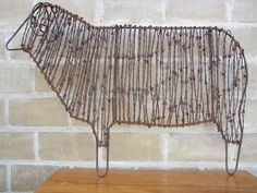 Wire sculptures of sheep & lamb for landscape/garden art Wire sculptures of sheep & lambs for landscape / garden art Junk Metal Art, Metal Garden Art, Junk Art, Barb Wire Crafts, Metal Crafts, Wire Art Sculpture, Wire Sculptures, Garden Sculpture, Chicken Wire Art