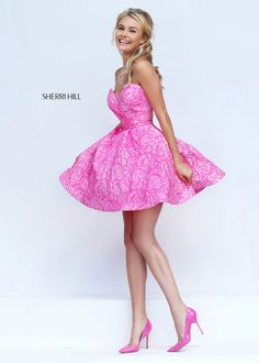 Sherri Hill 50131 Pretty Pink Strapless Floral Cocktail Dress
