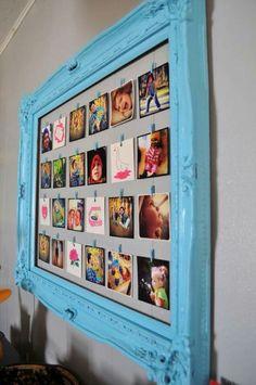 Lijst met leuke foto's via touw en kleine wasknijpers.