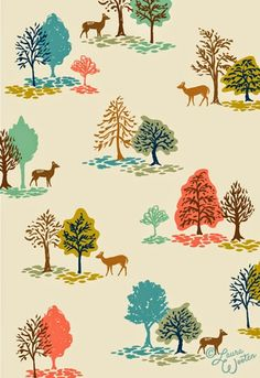 LAURA-WOOTEN. Cream ground. Brown. Coral. Aqua. Blue. Rust. Green. Trees. Woodland. Nature. Toile.