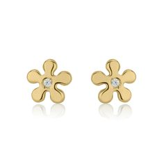 Beautiful stud Earrings made of 14KYellow Gold.The earrings are made from14K solid gold, which is known as a hypoallergenic metal. Accordingly, these earrings can be safely worn by those with metal allergies.These high quality Yellow Gold studs are suitable for all ages, can become nice gift for children, girls, teens and young women.