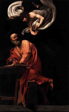 The Inspiration of Saint Matthew, Caravaggio, 1602, Contarelli Chapel, San Luigi die Francesi, Rome, Italy