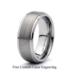 Mens Brushed tungsten carbide wedding band, stepped edges Free gift box Comfort Fit 8mm Men's Ring Sizes :5 5.5 6 6.5 7 7.5 8 8.5 9 9.5 10 10.5 11 11.5 12 12.5 13 14 15    Free Custom Laser Engraving Up to 65 Characters or Symbols Font Options 1. Arial 1234567890 2. Monotype Corsiva 1234567890 3. Times New Roman 1234567890 4. Snell Roundhand 1234567890  How to order your Custom Engraving: 1. Choose the ring Size 2. Choose the Font Name 3. Send the message with the text for Engraving 4…