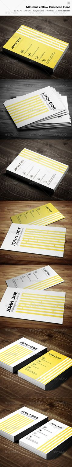 Buy Minimal Yellow Business Card - 02 by bouncy on GraphicRiver. Business card – perfect for any idustry. - Full Editable, Layered you can find fo. Presentation Cards, Presentation Design, Minimal Business Card, Creative Business, Architecture Logo, Find Fonts, Bussiness Card, Business Card Design Inspiration, Branding