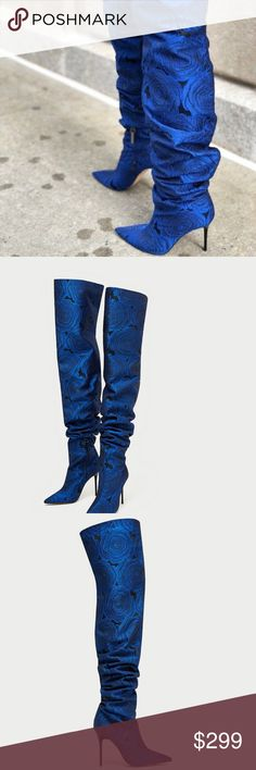 aa0eddd0747 Zara Floral Over-the-knee High Heel Boots Blue ZARA FLORAL PRINT OVER-