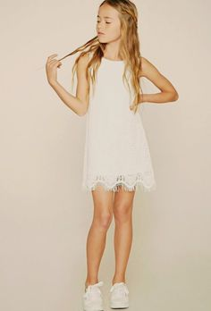 Forever 21 Girls – A sleeveless knit floral crochet dress with a round neckline,… - Preteen Clothing Preteen Fashion, Kids Fashion, Fashion Outfits, Emo Fashion, Forever 21 Girls, Shop Forever, Crochet Dress Girl, Beautiful Little Girls, Baby Kind